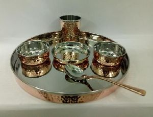 Copper Steel Hammered Thali Set