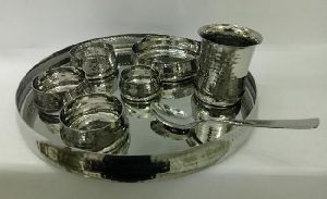 Steel Hammered Thali Set