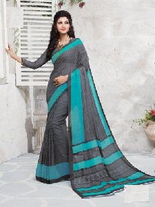 Alfion Plain Uniform Chiffon Saree