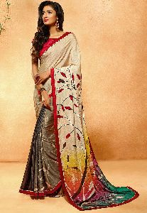 Digital Print Satin Chiffon Saree