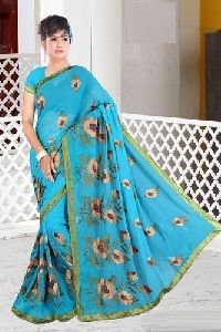 Thread Work Chiffon  Saree