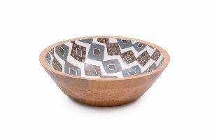 Exotic Diamond Pattern Wooden Bowl