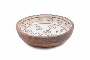 Leaf Pattern Printed Handcrafted Wooden Bowl