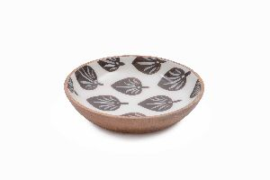Leaf Pattern Printed Wooden Bowl