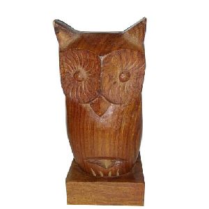 Wooden Brown Owl Shape Spectacle Stand
