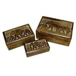 Wooden Elephant Design Rectangle Box 01