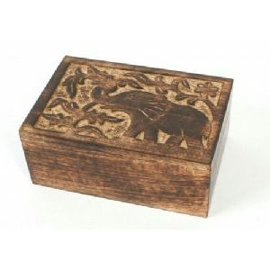 Wooden Elephant Design Rectangle Box 02