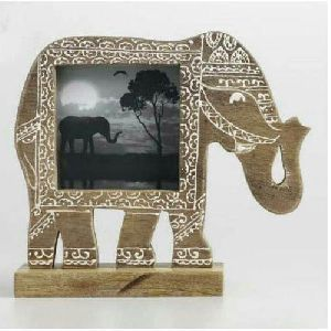 Wooden Elephant Shape Photo Frame