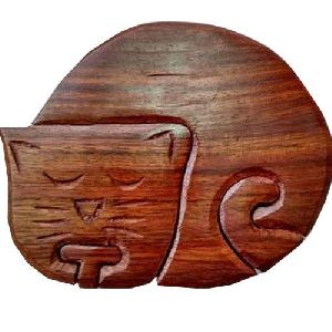 Wooden Kitty Shaped Puzzle Box