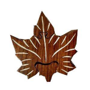 Wooden Leaf Shaped Puzzle Box