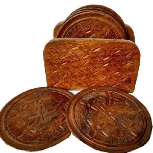 Wooden Round Coaster Set