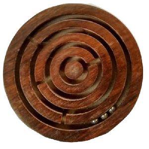 Wooden Round Maze Game