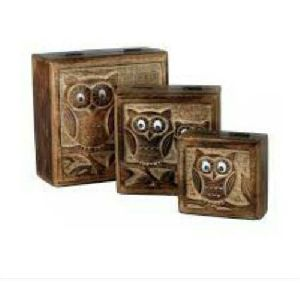 Wooden Square Owl Design Box