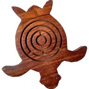 Wooden Turtle Shaped Maze Game