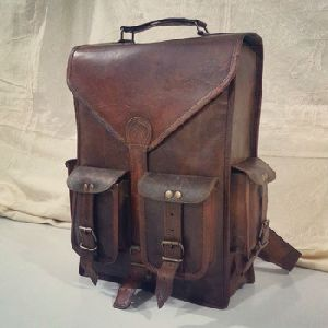 Real leather Backpack Messenger bag