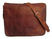 Real leather full flap messenger bag