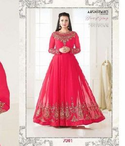 Georgette Net fabric Embroidery work Anarkali Suit