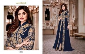 Gold Faux Georgette Embroidery Salwar Kameez
