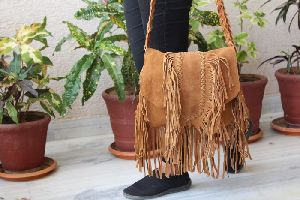 Brown Leather Fringe Bag