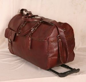Leather Luggage Trolley Bag