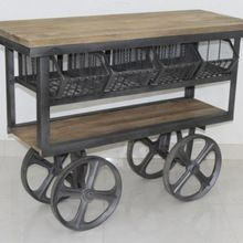 solid wood kitchen cart trolley with drawers