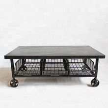 vintage Iron metal Cart coffee Table with drawers