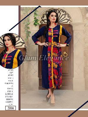 3006 Swaraa Collection Rayon Cotton Kurti