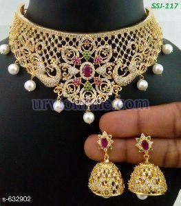 Gold Party Wear Neclace Set
