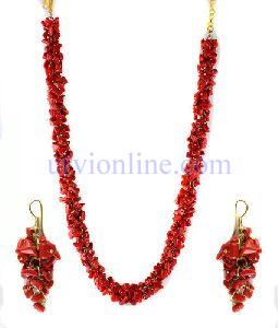 Red Stone Uncut Chip Necklace Set