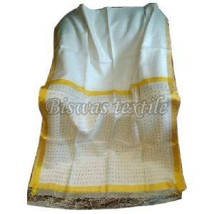Ladies White Matka Silk Saree