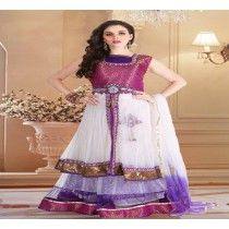 RED VIOLET EMBROIDED LEHENGA CHOLI