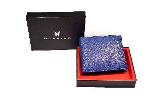 MUPKINO Genuine Leather Mens Wallet Blue Detachable Card