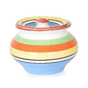 Handpainted Stripes Handi with Lid-1Ltr