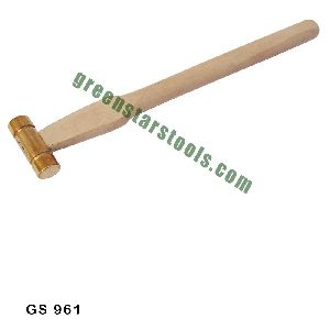 JEWELERS BRASS HAMMER WITH WOODEN HANDLE