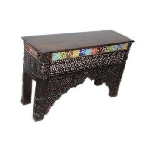 CARVED CONSOLE TABLE IN TILE WORK