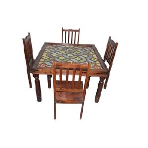 HIGH QUALITY TILE WORK WITH 4 CHAIRS DINING TABLE SET