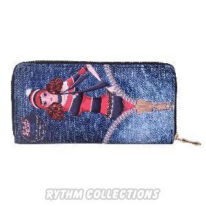 Ladies Dark Blue Denim Wallet