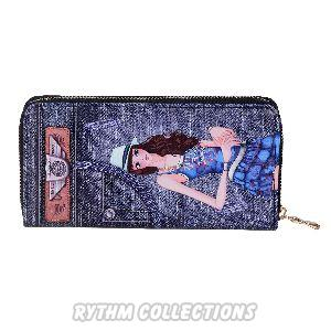 Ladies Navy Blue Denim Wallet