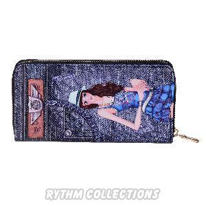 Ladies Navy Blue Denim Wallet