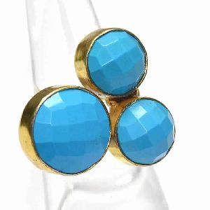 Turquoise Multi Shapes Gold Plated Bezel Gemstone Ring