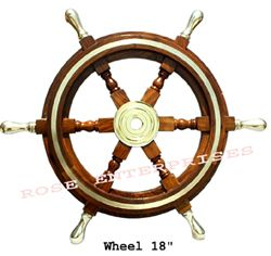 Wooden Ship Wheel W/Brass Hub