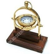 Brass Gimble Compass with Wooden Base