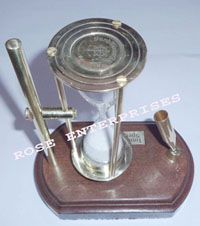 Brass Sand Timer with Pen Holder