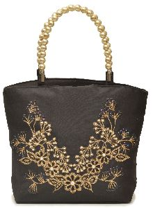 NHSB - 006 Ladies Bead Handle Silk Handbag