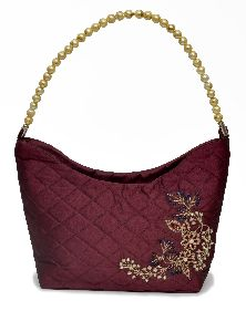 NHSB - 020 Ladies Bead Handle Silk Handbag