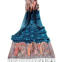 teal modal rayon jacquard arab scarf for women