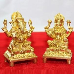 Brass Laxmi and Ganesh Statue