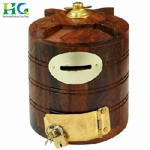Wooden Money Saving Box Coin Bank