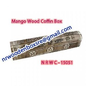 NRWC-15051 Sheesham Wood Incense Coffin Burner Box