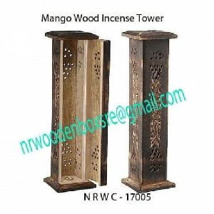 NRWC-17005 Mango Wood Hut Incense Tower